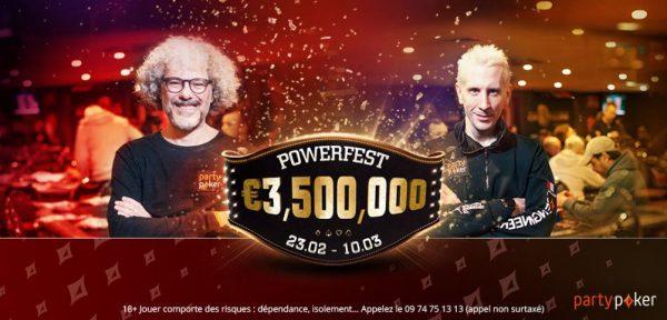 POWERFEST revient sur partypoker.fr avec 3,5 millions d'euros GTD du 23 février au 10 mars 2020
